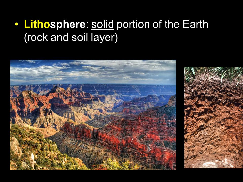 Lithosphere: solid portion of the Earth (rock and soil layer)