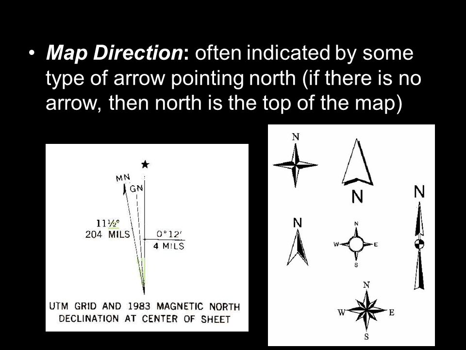 Map Direction: often indicated by some type of arrow pointing north (if there is no arrow, then north is the top of the map)