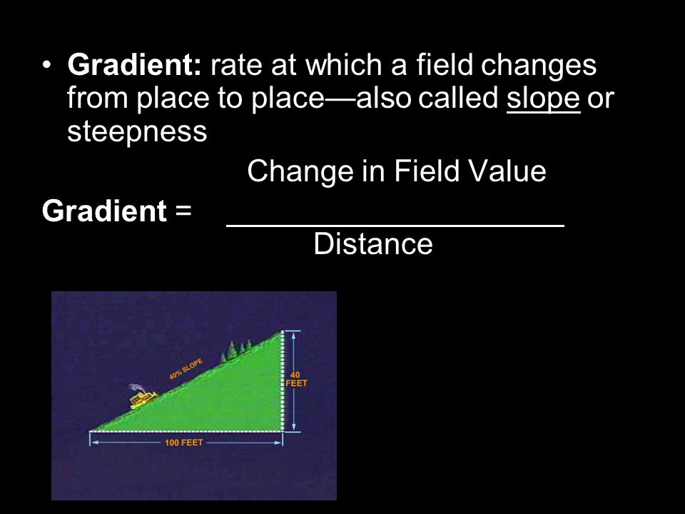 Gradient: rate at which a field changes from place to place—also called slope or steepness