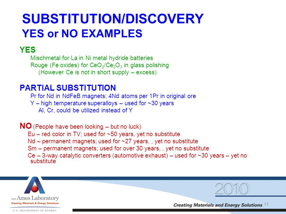 SUBSTITUTION/DISCOVERY YES or NO EXAMPLES