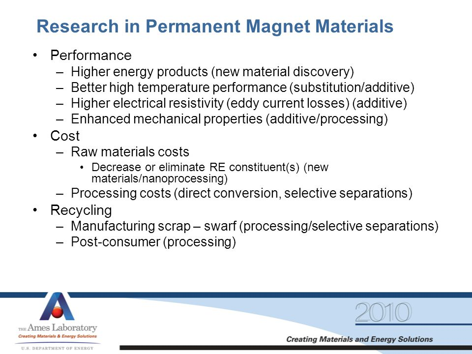 Research in Permanent Magnet Materials