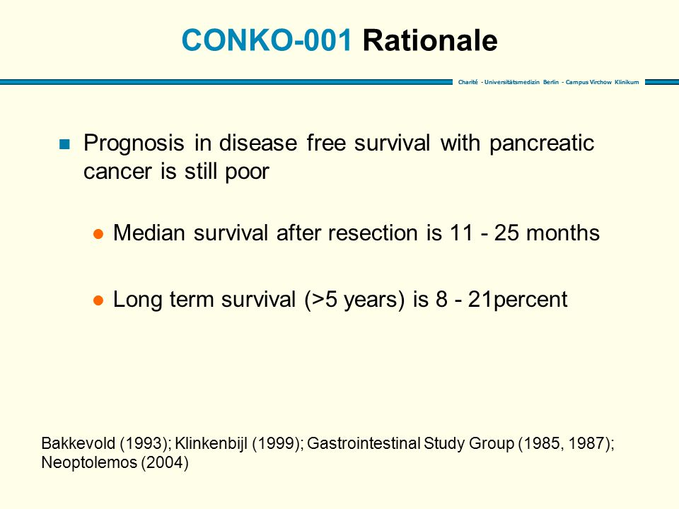 CONKO-001 Rationale Prognosis in disease free survival with pancreatic cancer is still poor. Median survival after resection is 11 - 25 months.