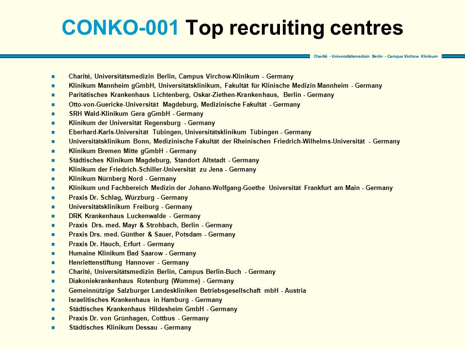 CONKO-001 Top recruiting centres