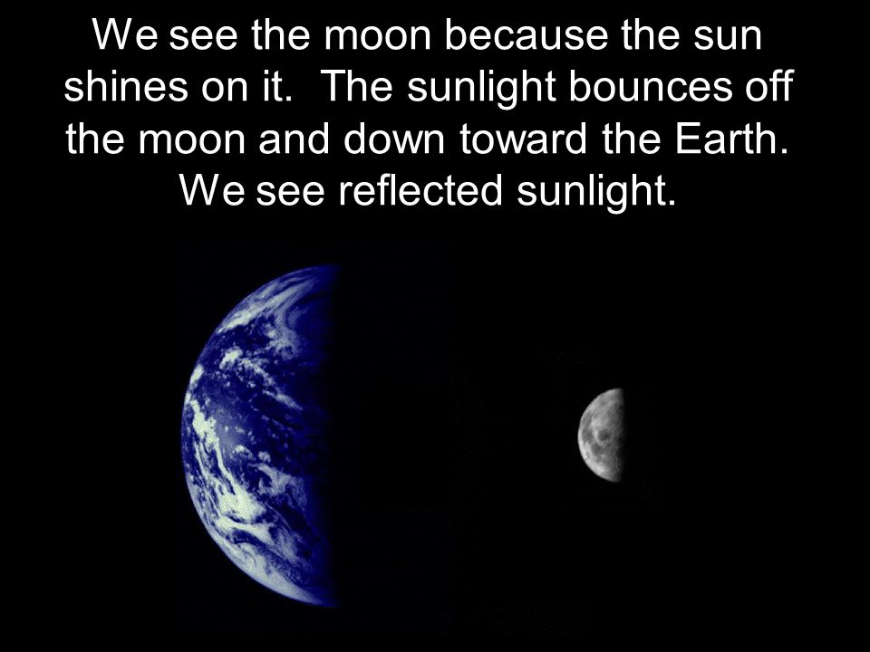 We see the moon because the sun shines on it