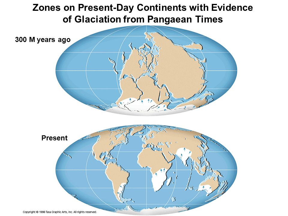 Zones on Present-Day Continents with Evidence of Glaciation from Pangaean Times