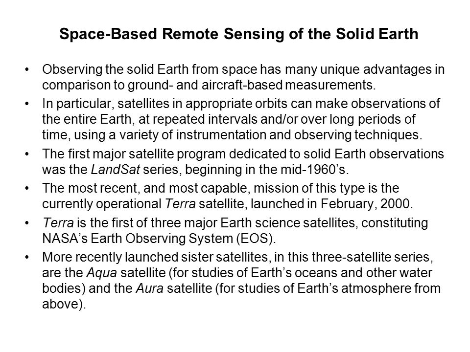 Space-Based Remote Sensing of the Solid Earth