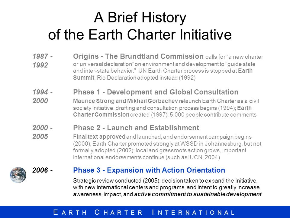A Brief History of the Earth Charter Initiative