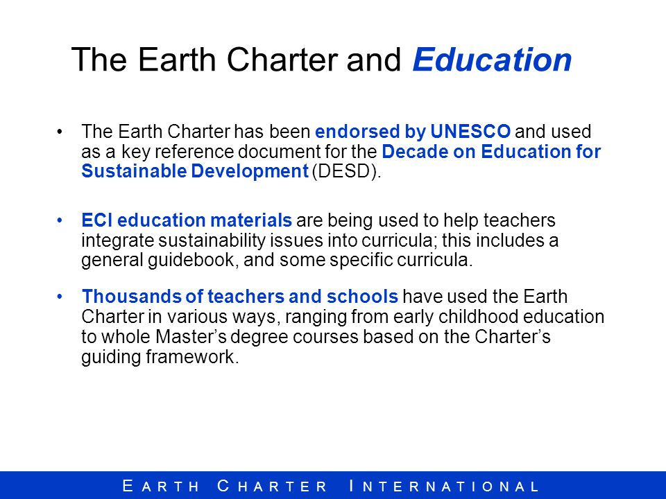 The Earth Charter and Education