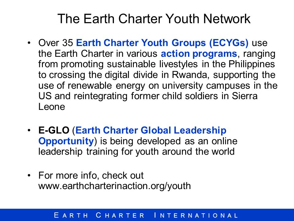 The Earth Charter Youth Network