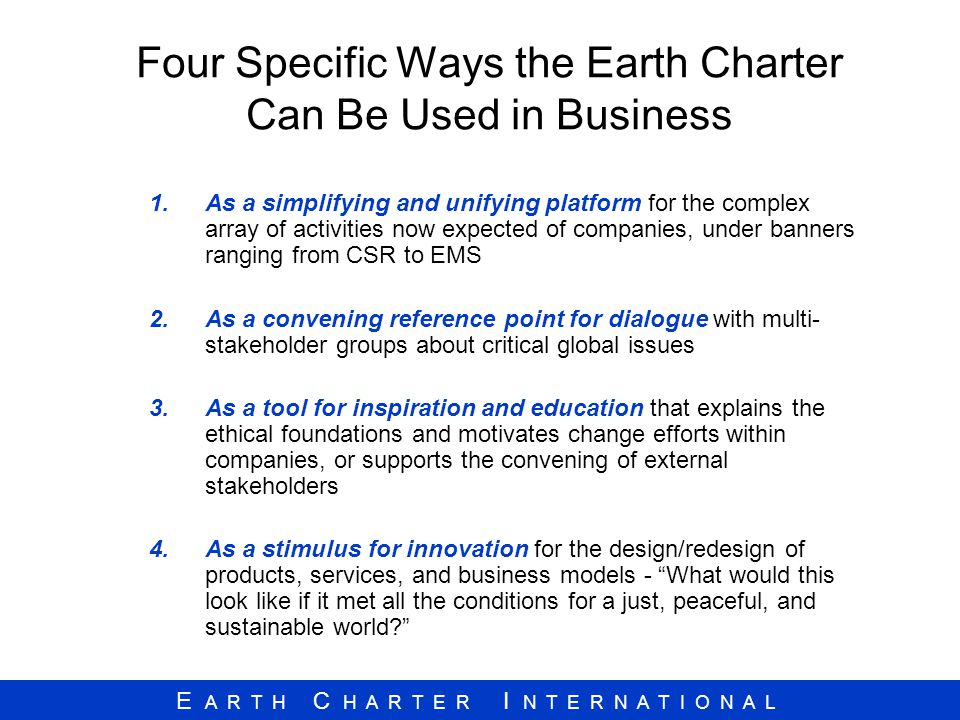 Four Specific Ways the Earth Charter Can Be Used in Business