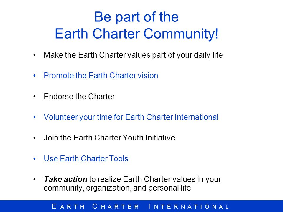 Be part of the Earth Charter Community!