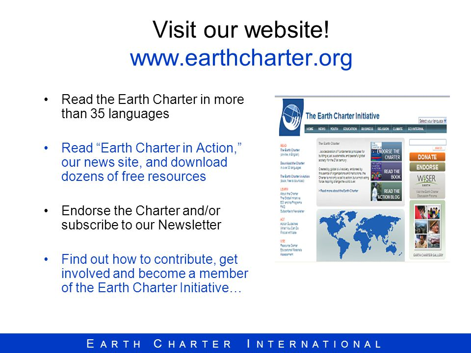 Visit our website! www.earthcharter.org