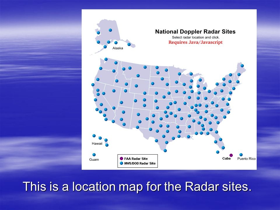 This is a location map for the Radar sites.