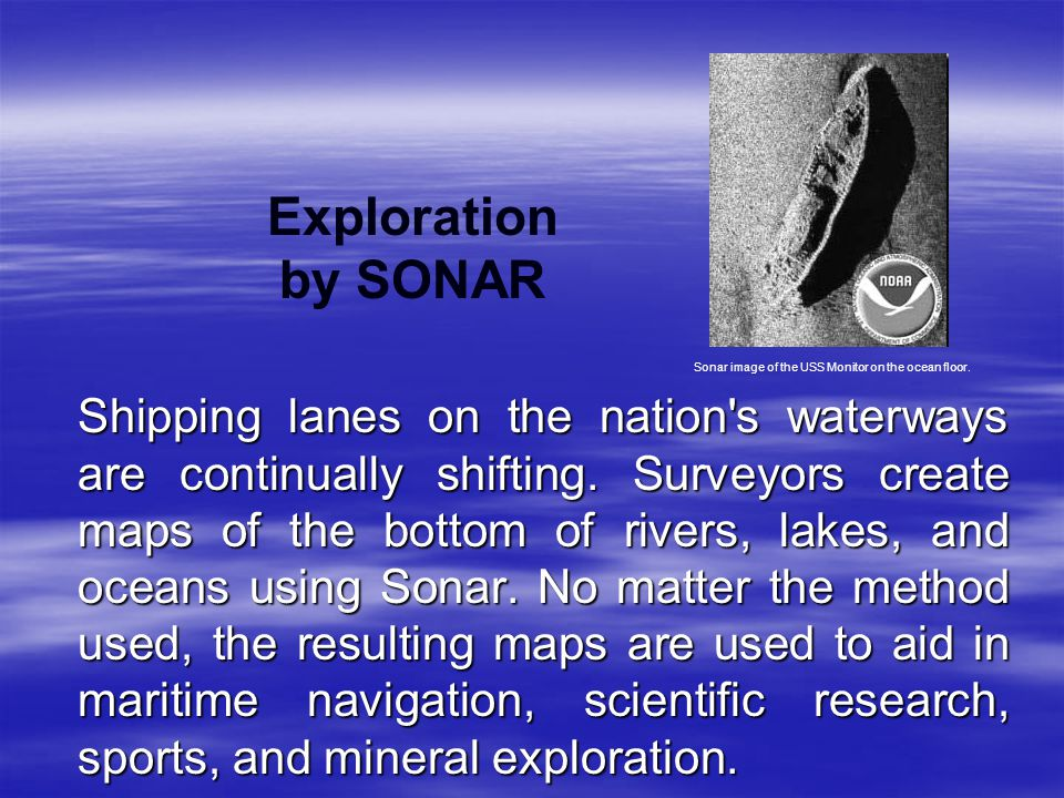 Exploration by SONAR Sonar image of the USS Monitor on the ocean floor.