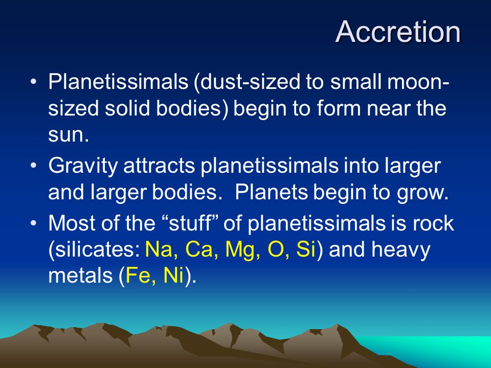 Accretion Planetissimals (dust-sized to small moon-sized solid bodies) begin to form near the sun.
