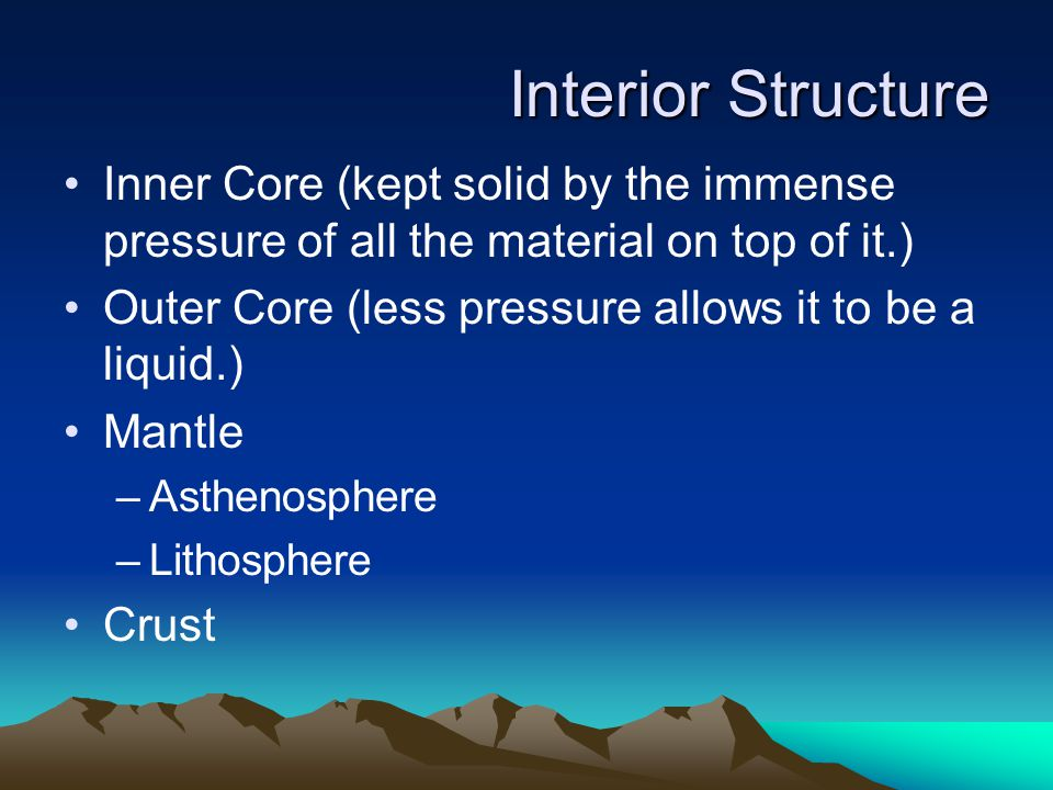 Interior Structure Inner Core (kept solid by the immense pressure of all the material on top of it.)