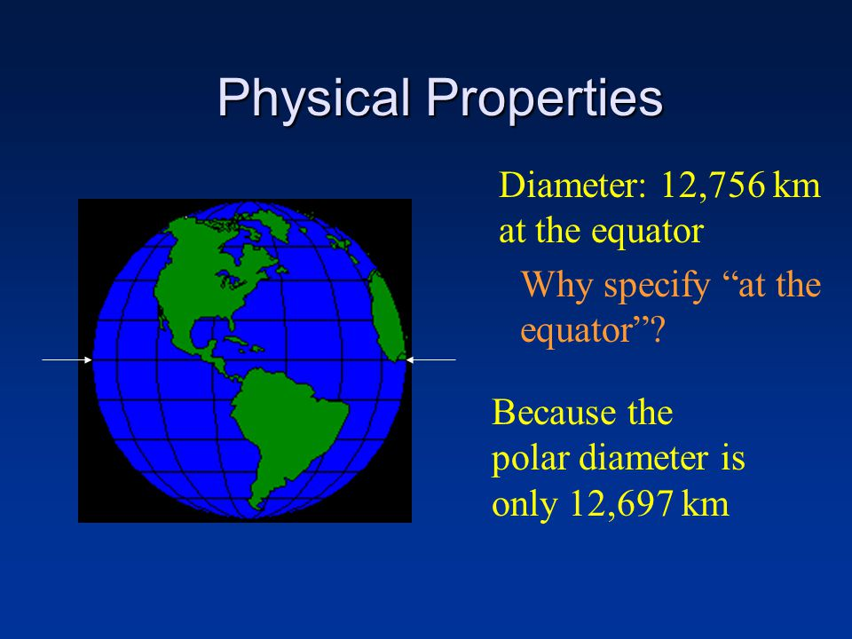 Physical Properties Diameter: 12,756 km at the equator