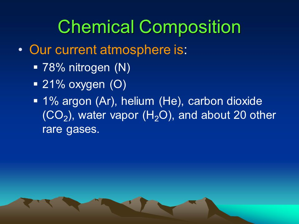 Chemical Composition Our current atmosphere is: 78% nitrogen (N)