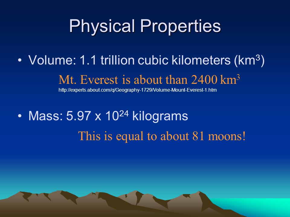 Physical Properties Volume: 1.1 trillion cubic kilometers (km3)