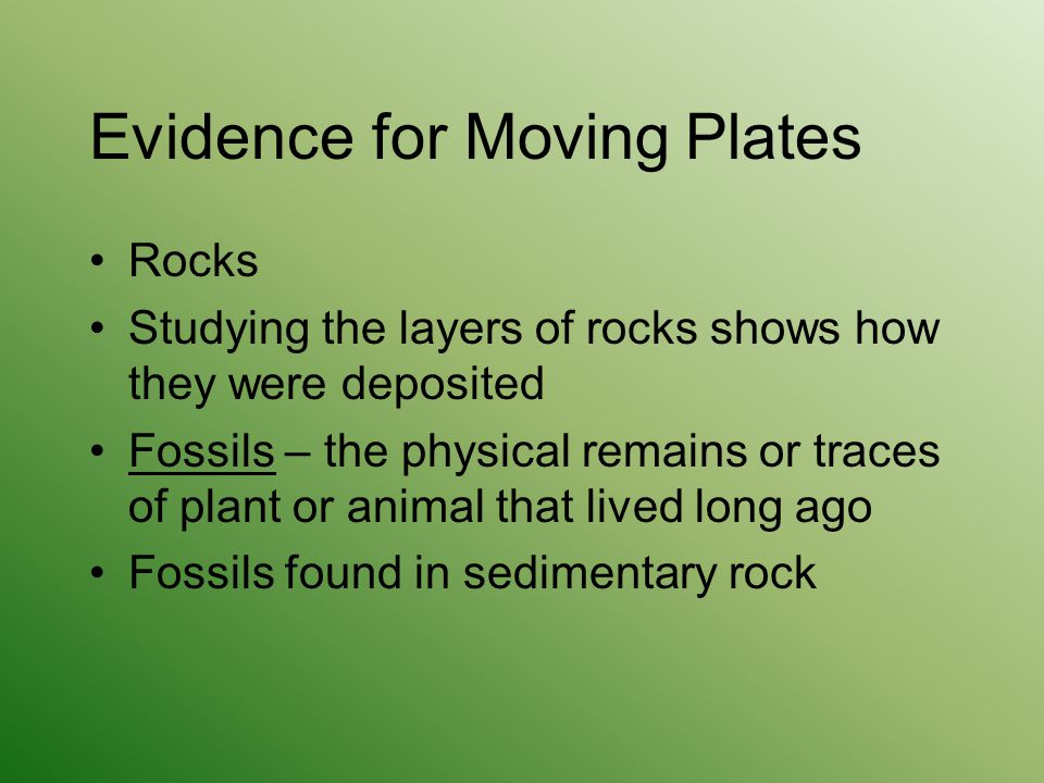 Evidence for Moving Plates