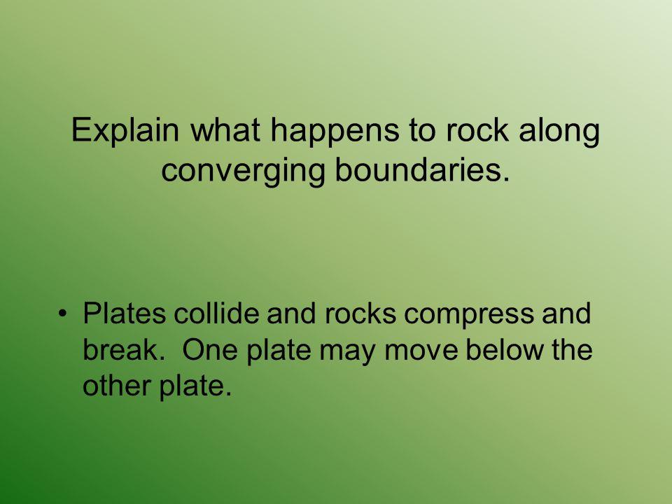 Explain what happens to rock along converging boundaries.