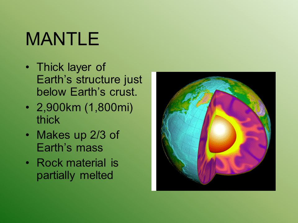MANTLE Thick layer of Earth's structure just below Earth's crust.