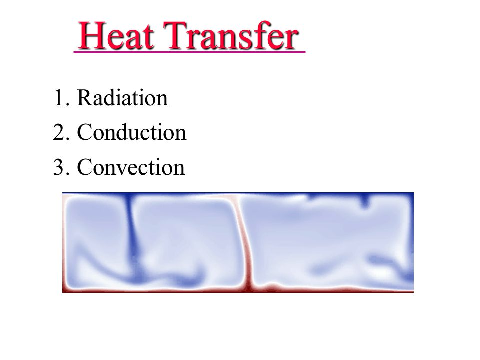 Heat Transfer 1. Radiation 2. Conduction 3. Convection 1. Radiation