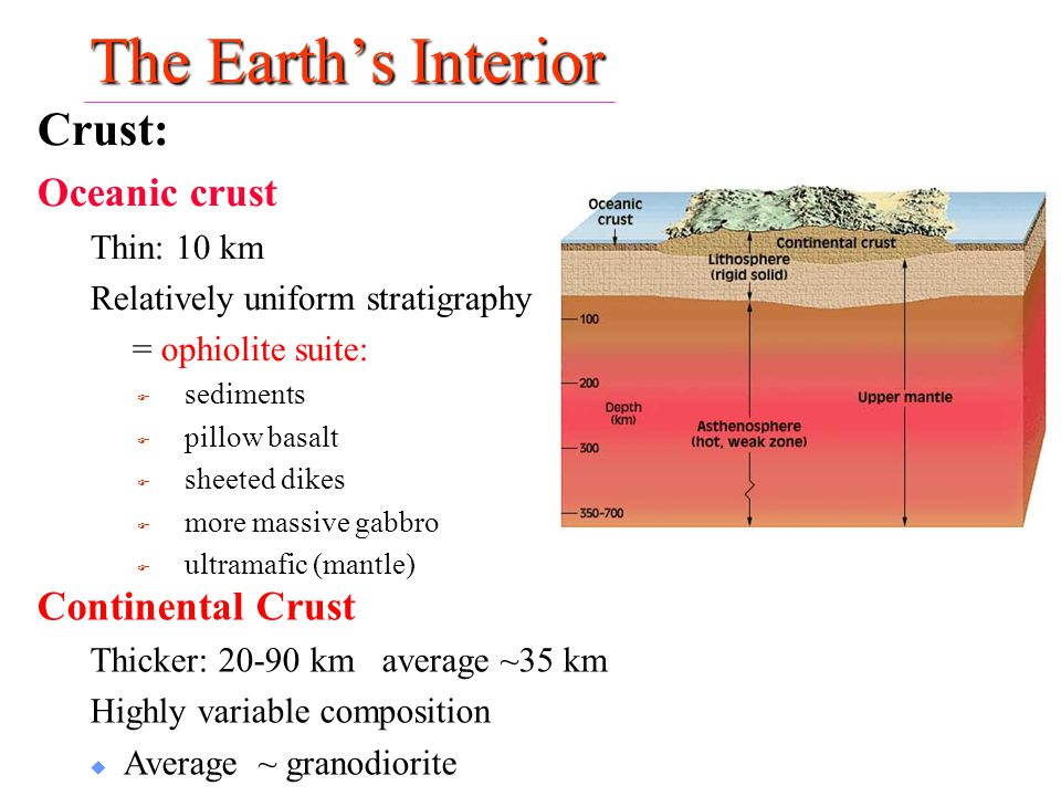 The Earth's Interior Crust: Oceanic crust Continental Crust