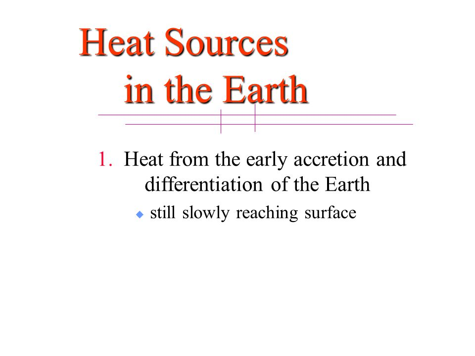 Heat Sources in the Earth