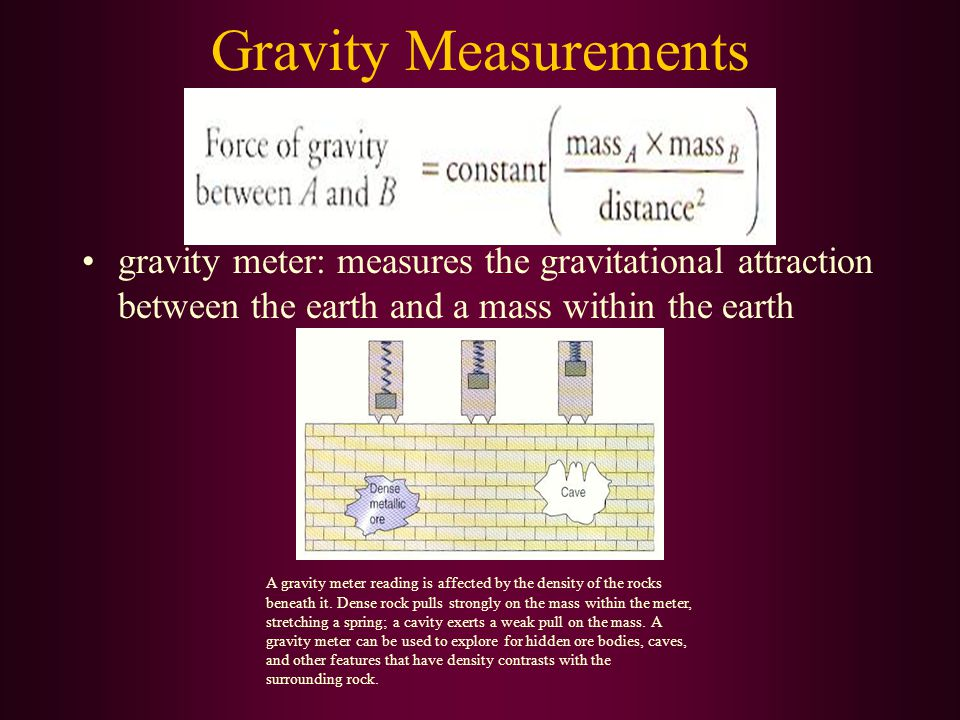 Gravity Measurements gravity meter: measures the gravitational attraction between the earth and a mass within the earth.