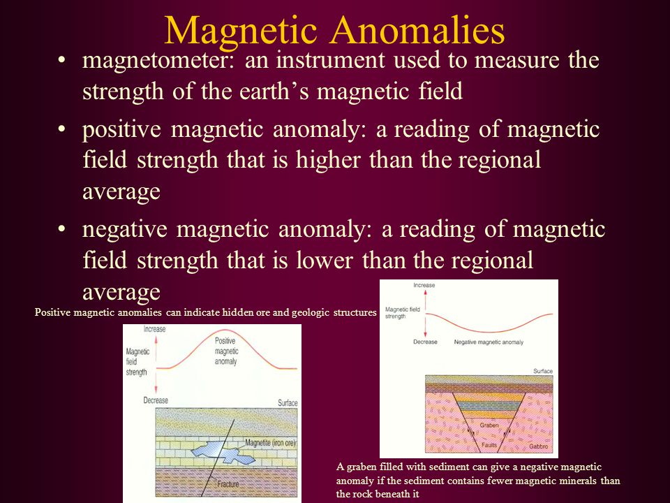 Magnetic Anomalies magnetometer: an instrument used to measure the strength of the earth's magnetic field.