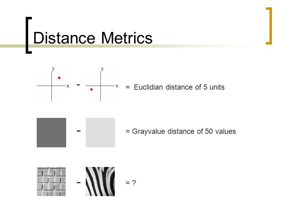 Distance Metrics - - - = Euclidian distance of 5 units