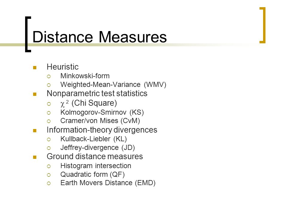 Distance Measures Heuristic Nonparametric test statistics