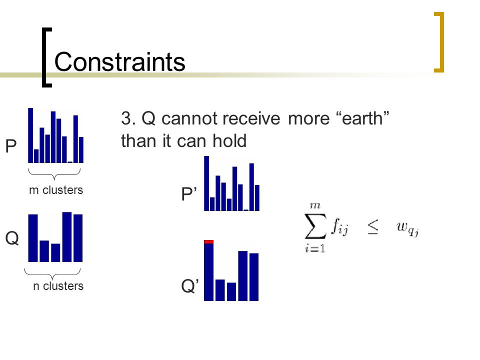 Constraints 3. Q cannot receive more earth than it can hold P P' Q