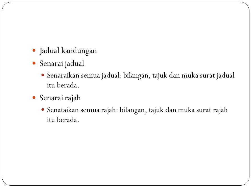 Jadual kandungan Senarai jadual Senarai rajah