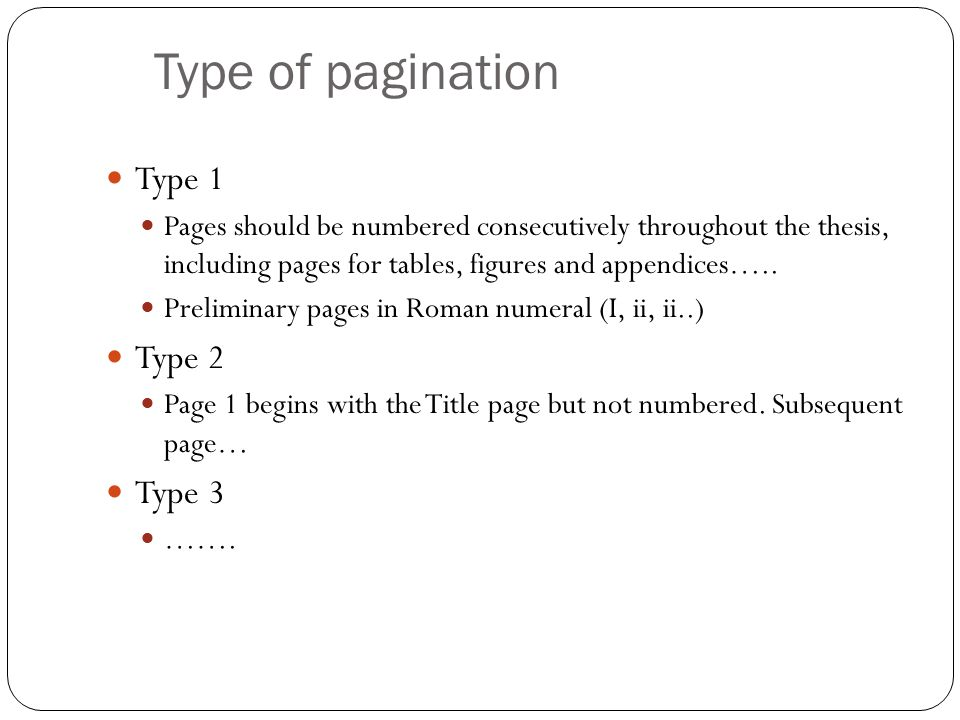 Type of pagination Type 1 Type 2 Type 3