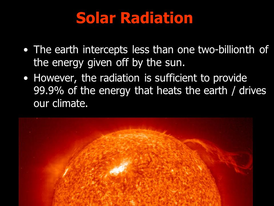 Solar Radiation The earth intercepts less than one two-billionth of the energy given off by the sun.