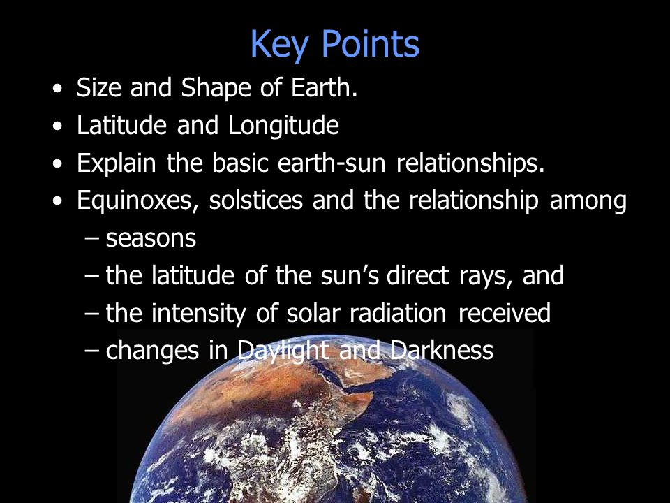 Key Points Size and Shape of Earth. Latitude and Longitude
