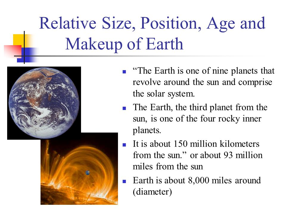 Relative Size, Position, Age and Makeup of Earth