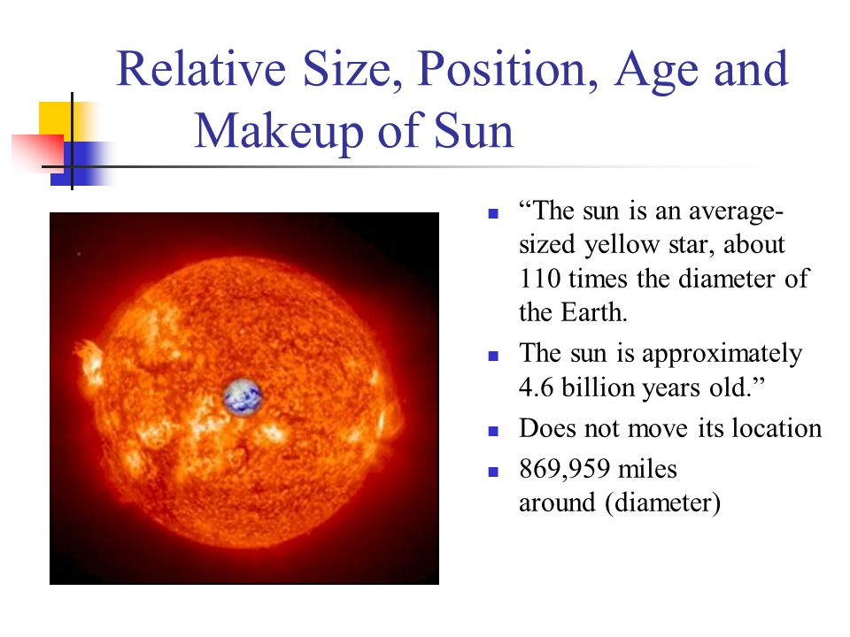 Relative Size, Position, Age and Makeup of Sun
