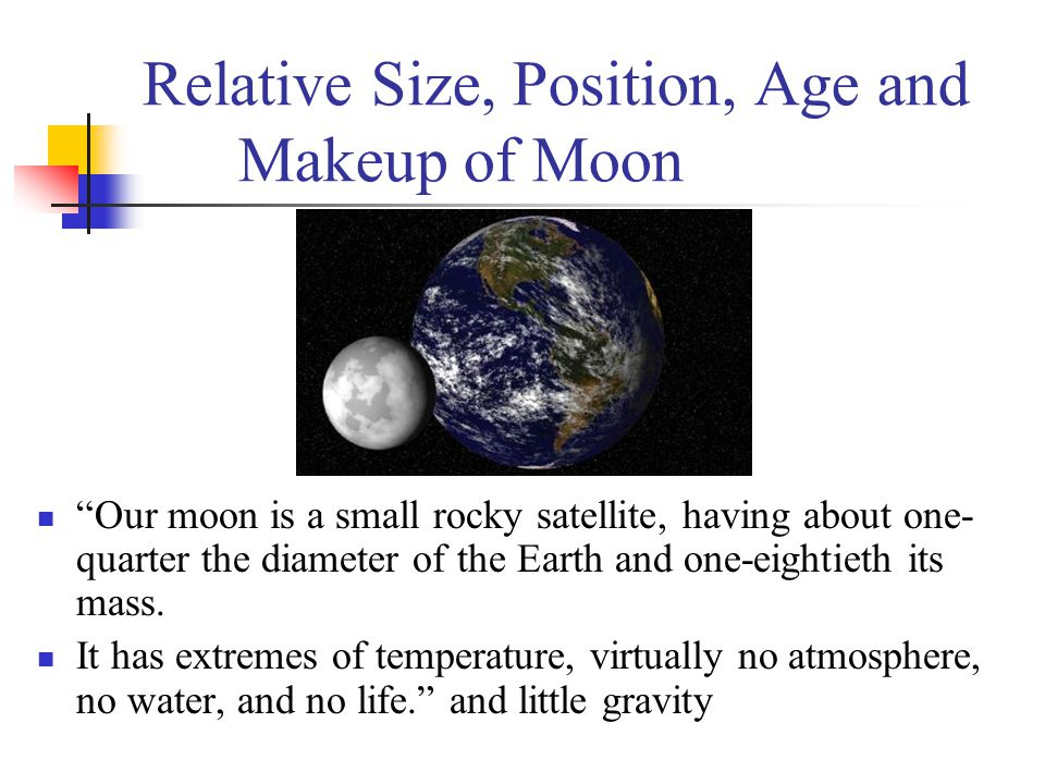 Relative Size, Position, Age and Makeup of Moon