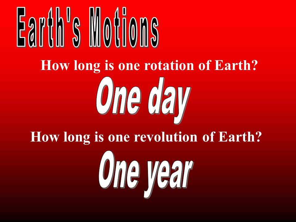 How long is one rotation of Earth