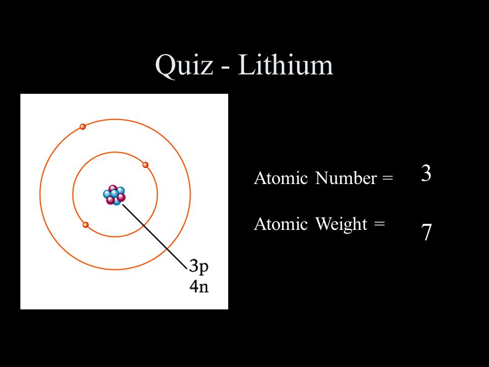 Quiz - Lithium 3 7 Atomic Number = Atomic Weight =
