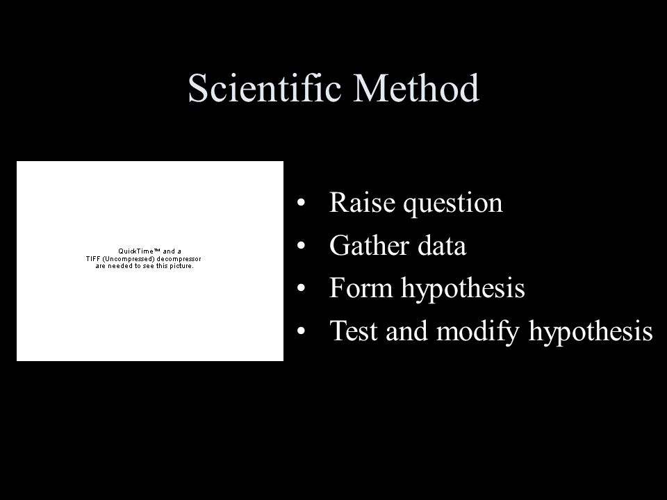 Scientific Method Raise question Gather data Form hypothesis