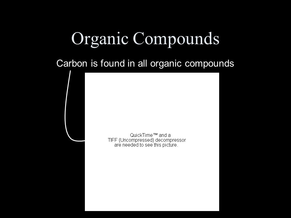 Organic Compounds Carbon is found in all organic compounds