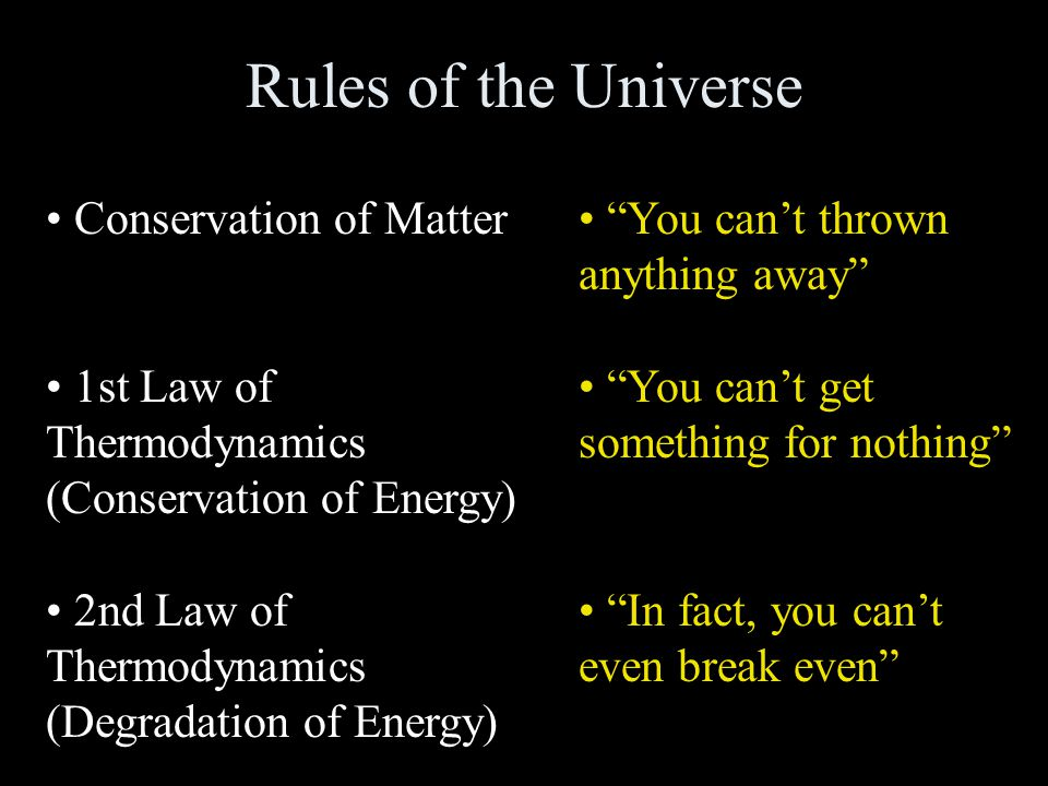 Rules of the Universe Conservation of Matter