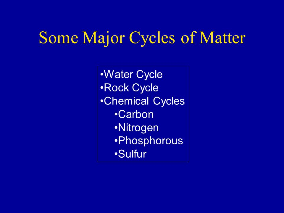 Some Major Cycles of Matter