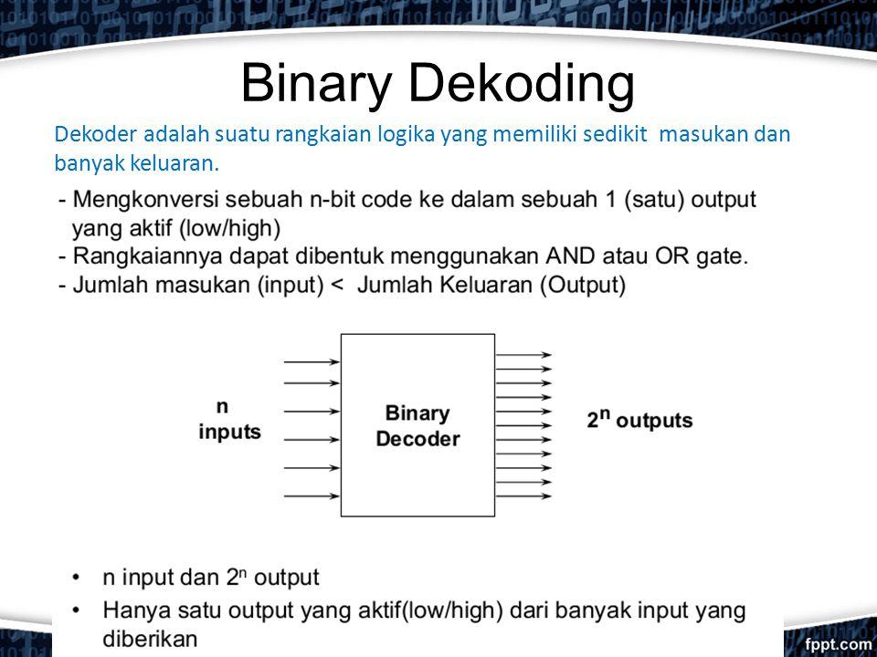 Binary Dekoding Dekoder adalah suatu rangkaian logika yang memiliki sedikit masukan dan banyak keluaran.