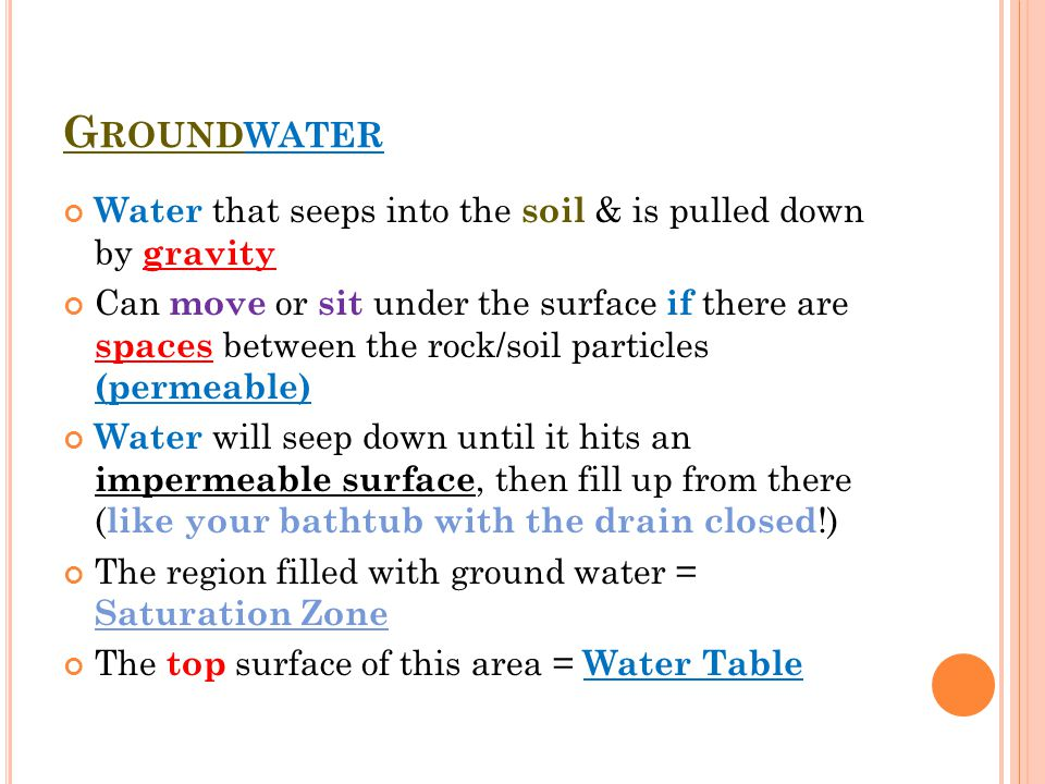 Groundwater Water that seeps into the soil & is pulled down by gravity