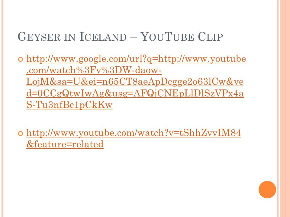 Geyser in Iceland – YouTube Clip